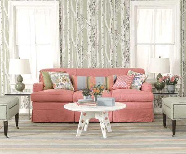 divano rosa salone