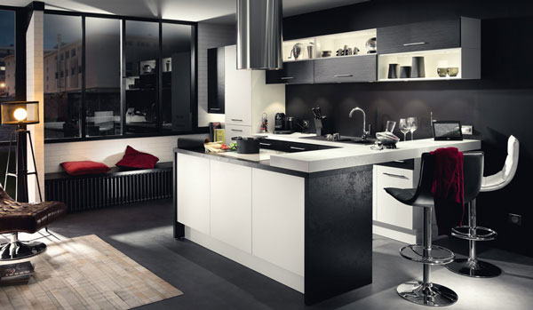 Black and white kitchen design photos idea