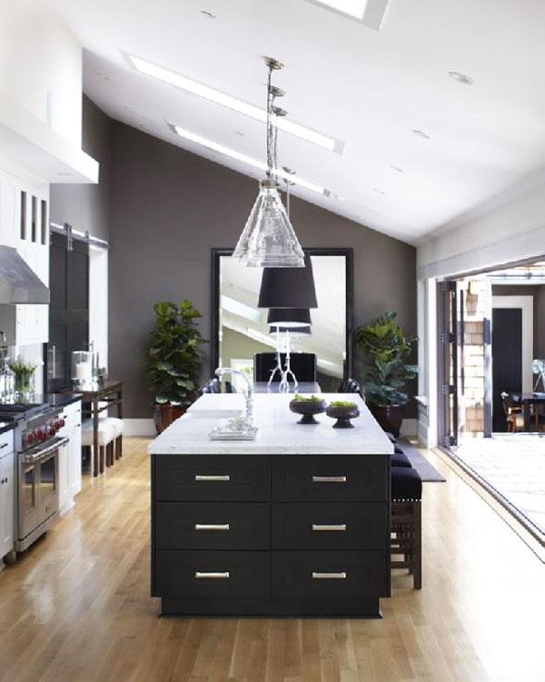isola cucina bianca e nera