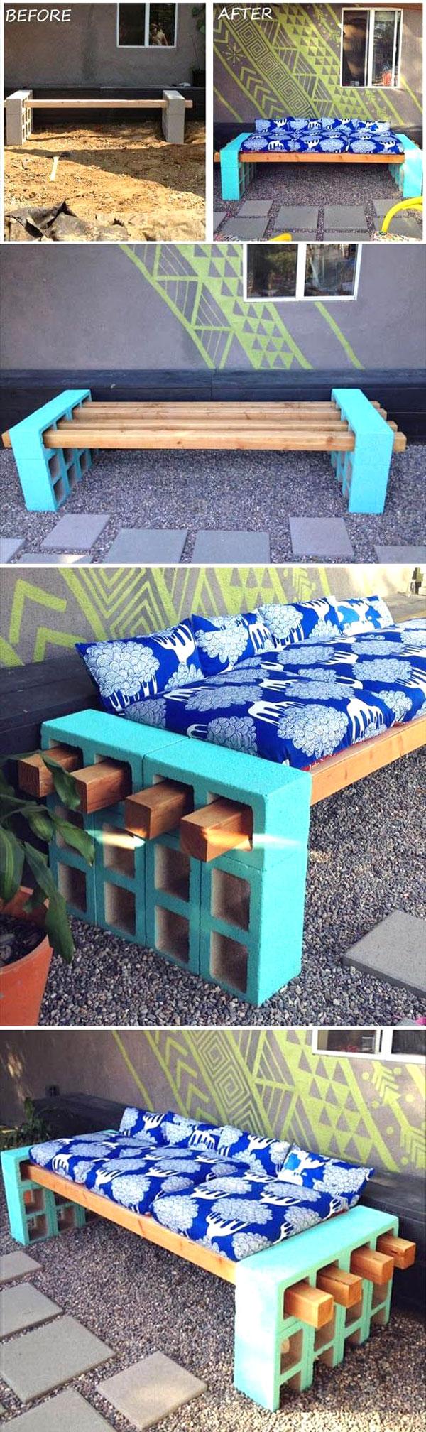 panchina con blocchi di cemento