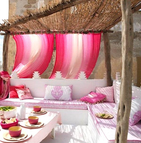 salotto esterno rosa