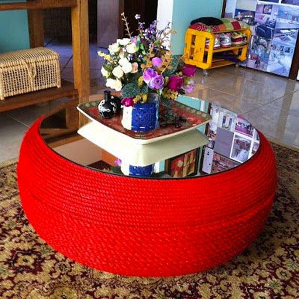 tavolino con pneumatico