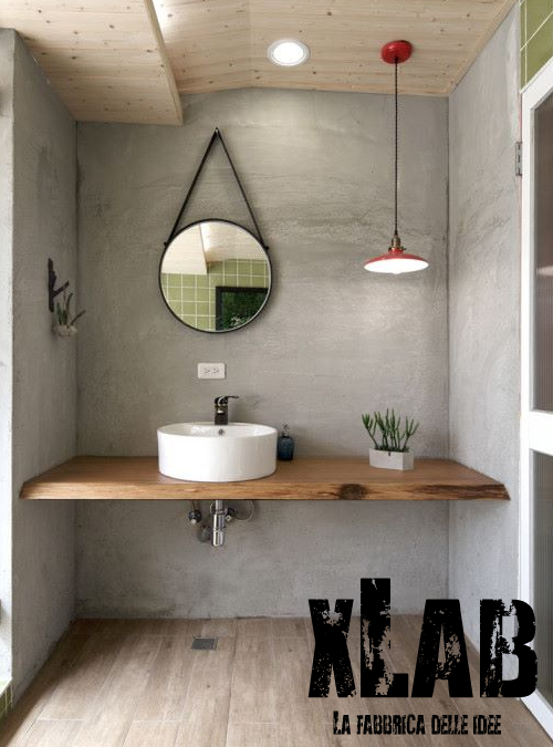 piano lavabo in legno massello 7