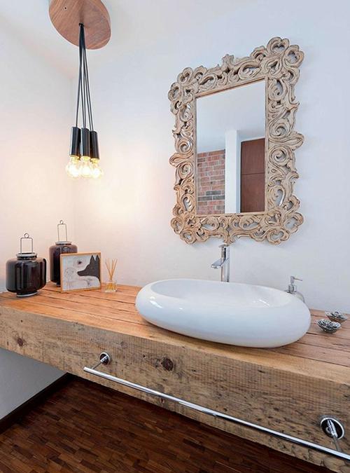 Mobile in legno massello per il bagno ecco 10 modelli da sogno - Piano lavandino bagno ...