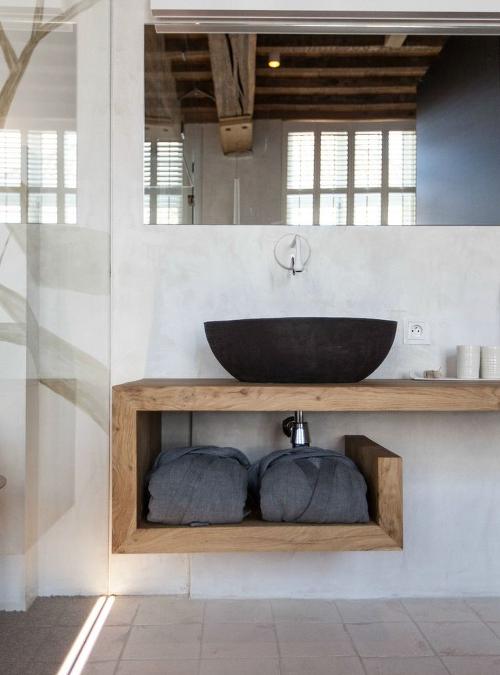 piano lavabo in legno massello 9