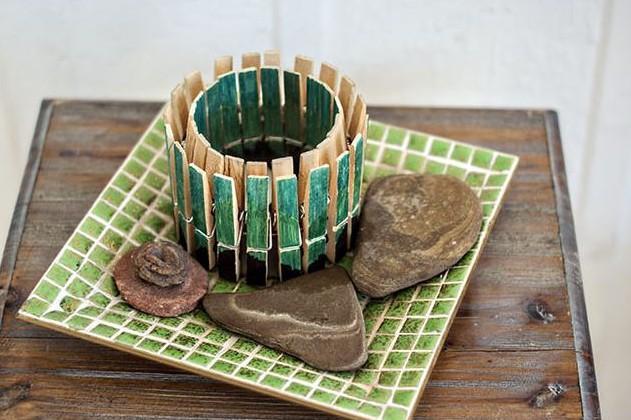 porta candele mollette legno