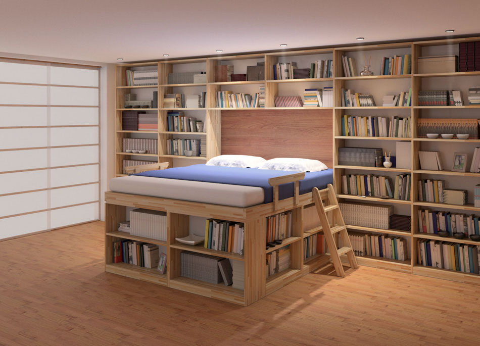 Letto salvaspazio 6 idee per ottimizzare lo spazio in - Libreria per camera da letto ...