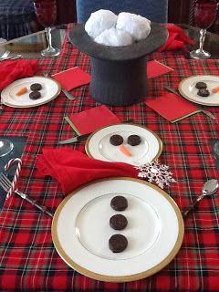 Apparecchiare la tavola di natale a forma di pupazzo di neve - Idee addobbo tavola natale ...