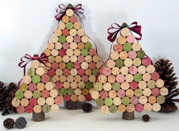 Decorazioni natalizie con tappi di sughero