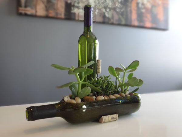 Riciclo creativo bottiglie di vino