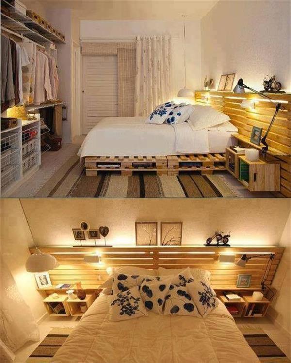 Un letto con i pallet