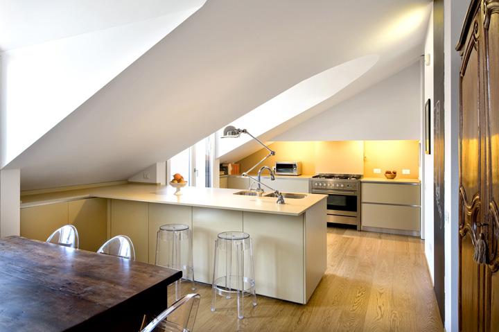 Ottimizzare lo spazio nel sottotetto ecco 20 idee originali - Cucine per mansarde ...