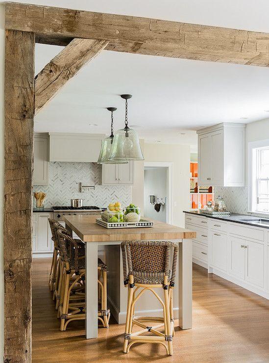 travi legno cucina bianca 12