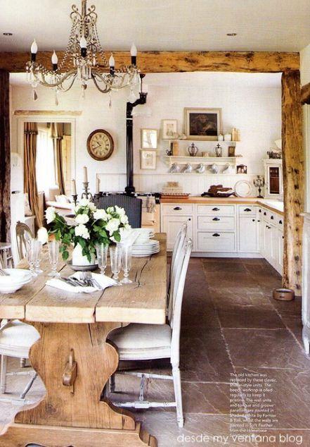 travi legno cucina bianca 13