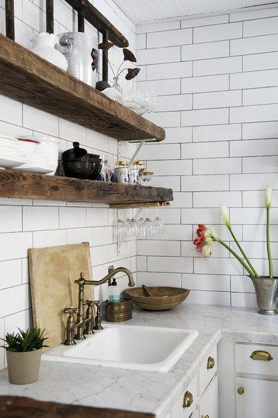travi legno cucina bianca 19