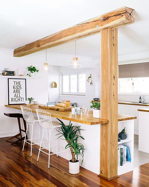 travi legno cucina bianca 3