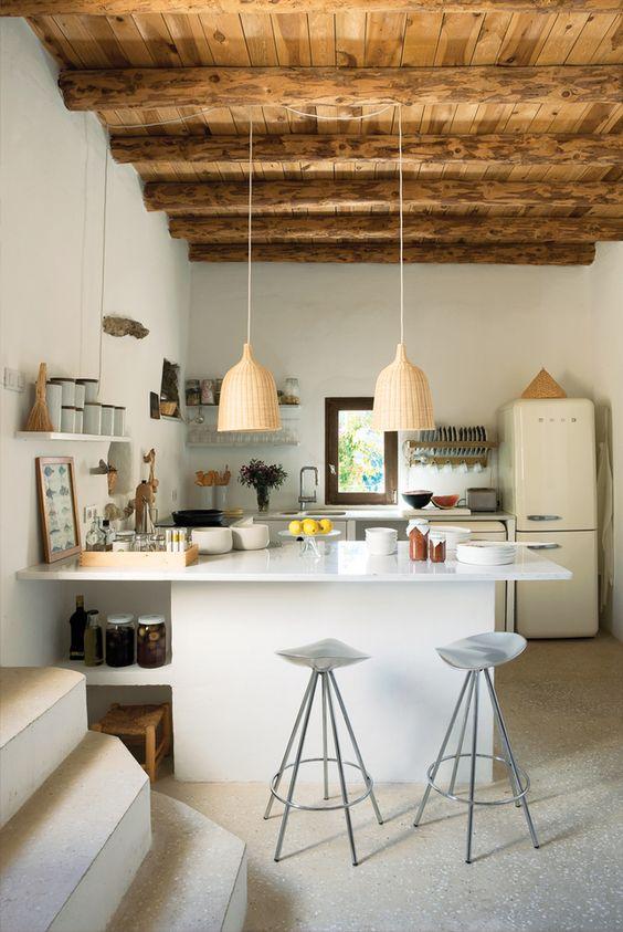 travi legno cucina bianca 4