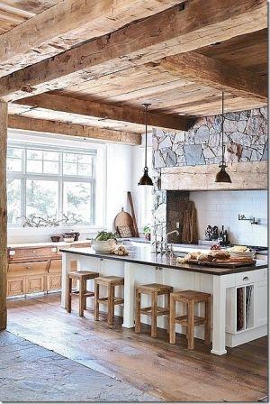 travi legno cucina bianca 7