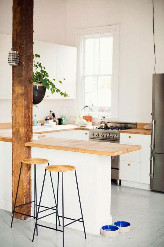 Molto Bianco e LEGNO in cucina! 20 idee da cui trarre ispirazione OI36