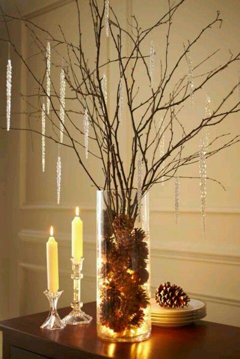 Decorazioni Invernali Per La Casa.Composizioni Invernali Con Tronchi Pigne Candele Ecco 20