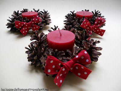 Composizioni invernali con tronchi pigne candele ecco - Decorazioni con pigne ...