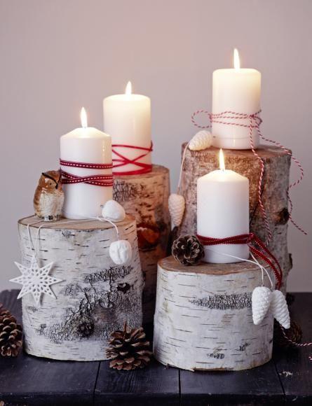 Decorazioni natalizie con i tronchi