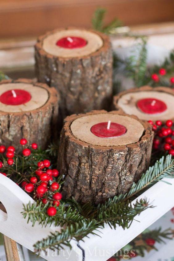 Composizioni invernali con tronchi