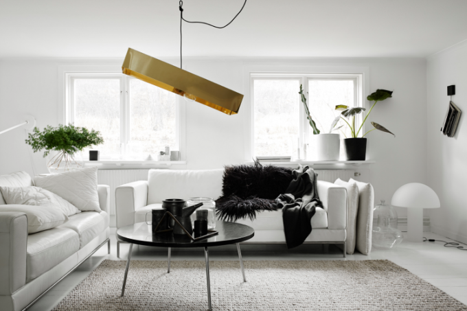 Abbinamenti bianco e nero per il salone 20 idee a cui - Living room black and white theme ...