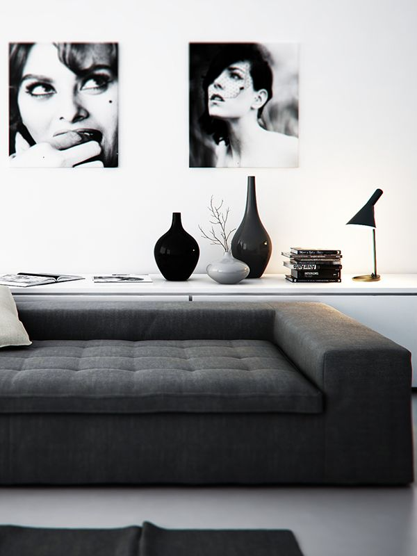 Abbinamenti bianco e nero per il salone 20 idee a cui for Black n white living room