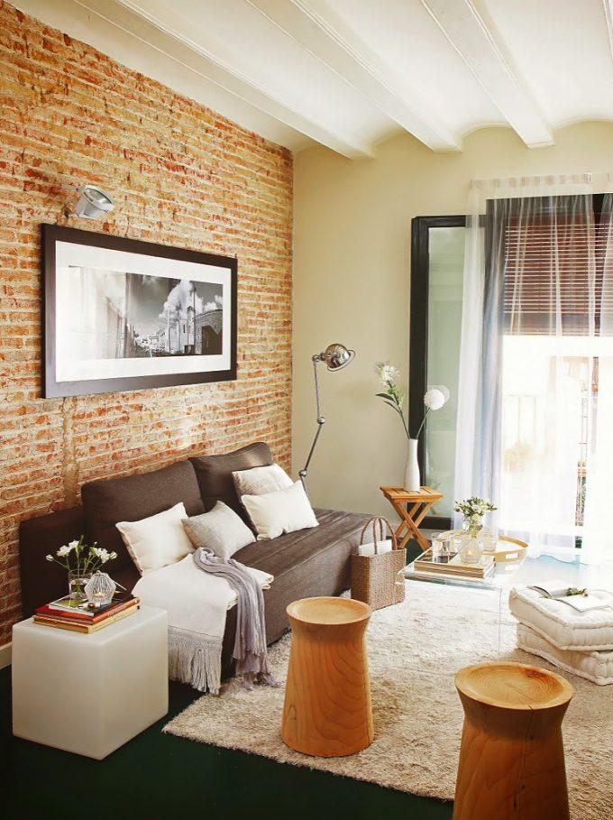 Mattoni a vista di colore rosso per decorare casa 20 idee - Decorare parete soggiorno ...