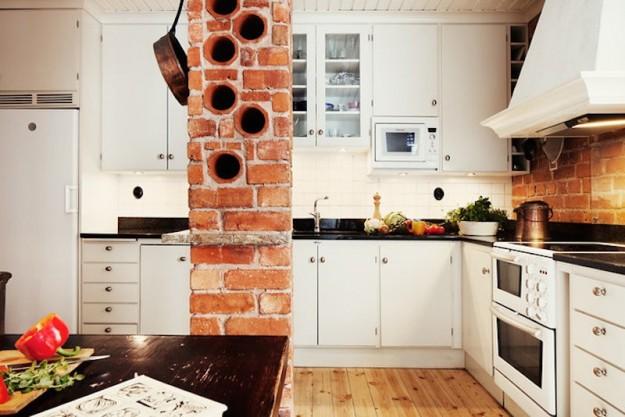 Mattoni a vista di colore rosso per decorare casa 20 idee - Mattoni per interni casa ...