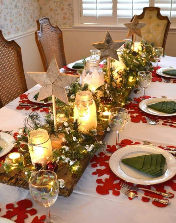 Bellissimi centrotavola natalizi fai da te 20 idee for Table de noel chic