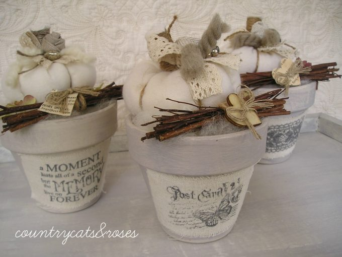 shabby chic style decorating clay pots u idea
