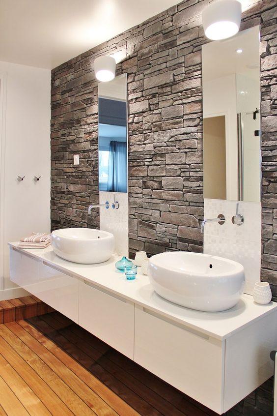 Rivestimenti in pietra nel bagno! 20 esempi bellissimi a cui ispirarsi...