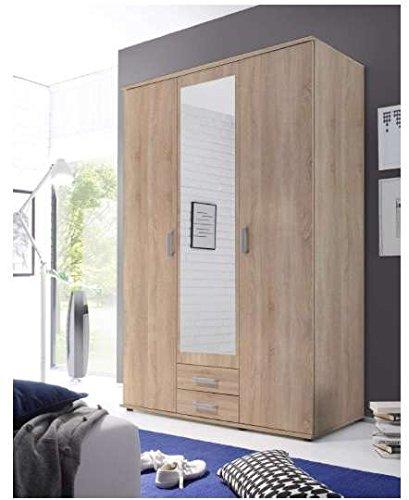 Armadio color legno con specchio centrale.
