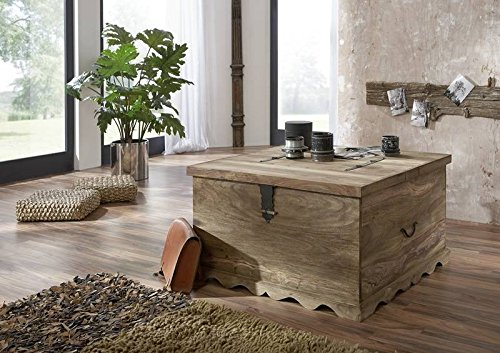Cassapanca in legno con grande contenitore, ideale come tavolino in salotto.