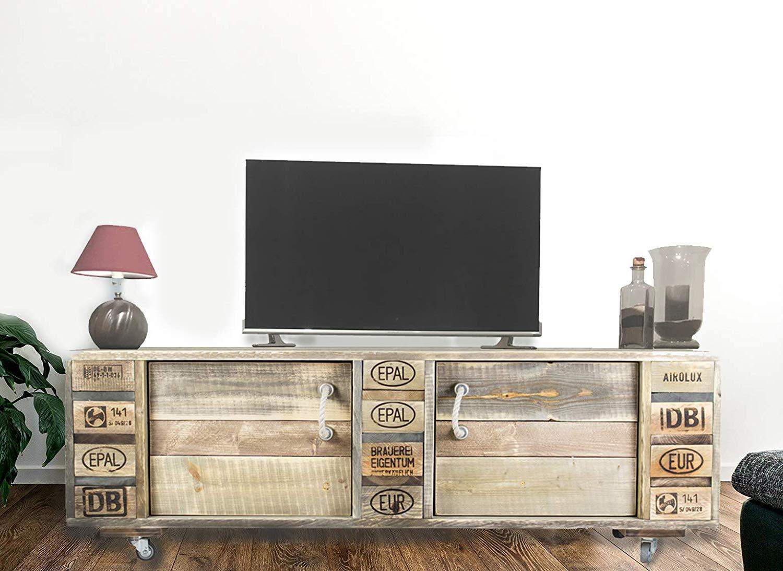 Mobile porta tv originale realizzato con pedane epal.