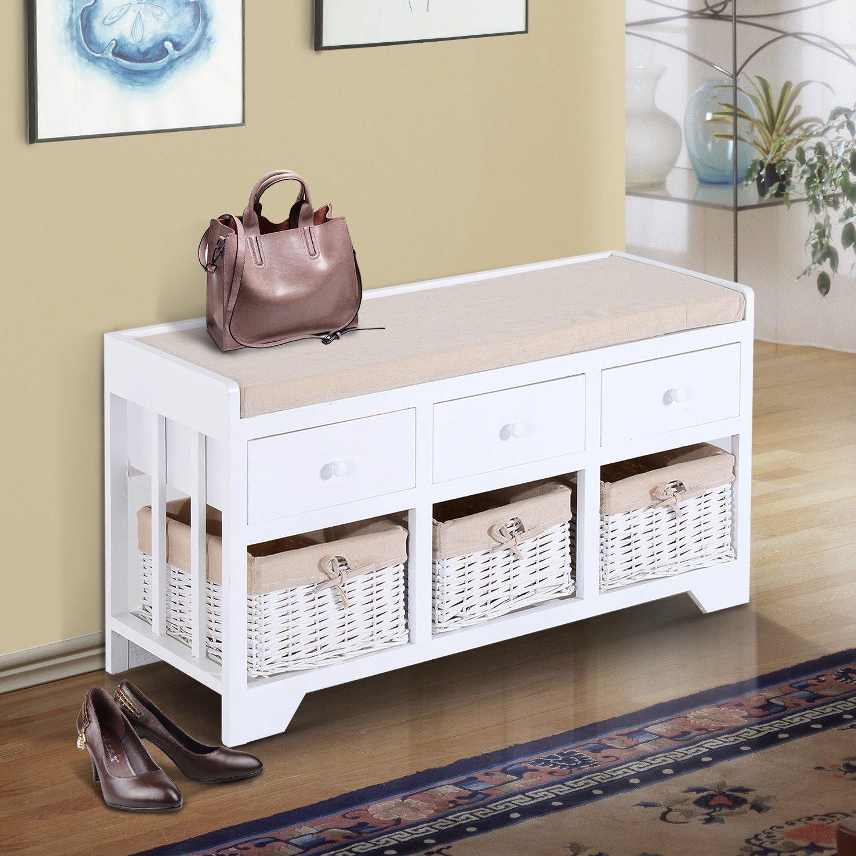 Bellissima panca bianca shabby chic con 3 cassetti e 3 cesti in vimini, seduta imbottita con cuscino beige.