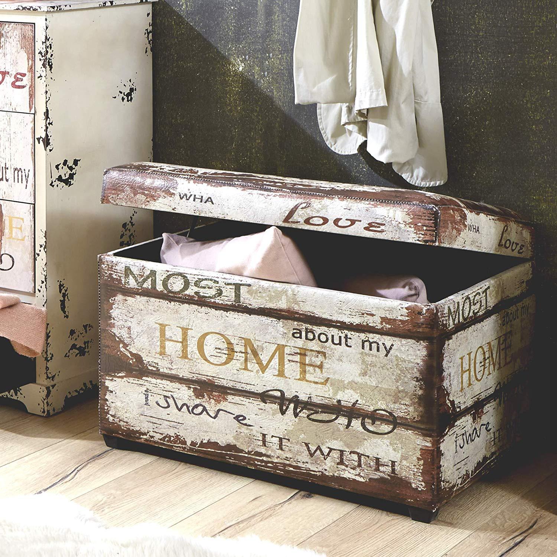 Cassapanca stile vintage con scritta home.