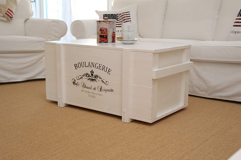 Cassapanca tavolino bianco in legno con scritta boulangerie, ideale per arredare il salotto in stile shabby chic.