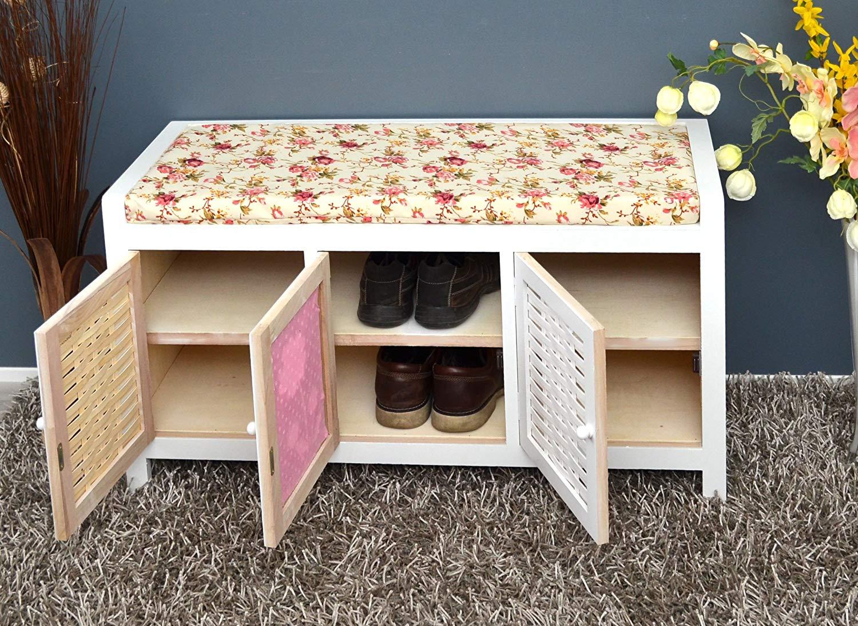 Panca con 3 sportelli per riporre le scarpe, seduta con cuscino e motivi floreali ideale per uno stile country.